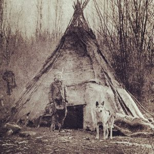 native american indian dog old photo
