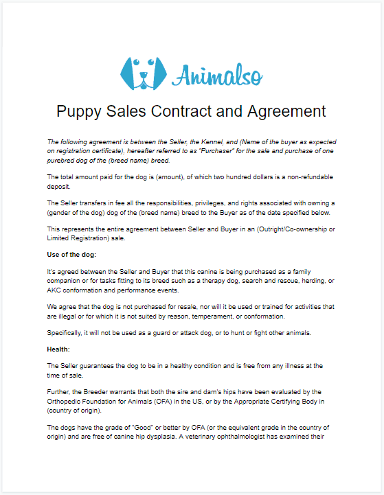 A simple Puppy Contract