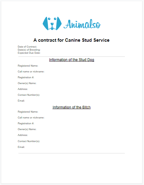 Contract for Canine Stud Service