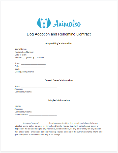Dog Adoption Contract