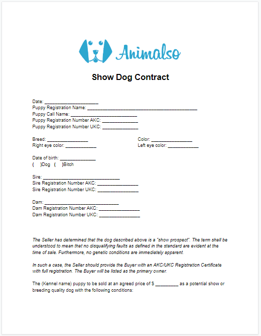 Show Dog Contract