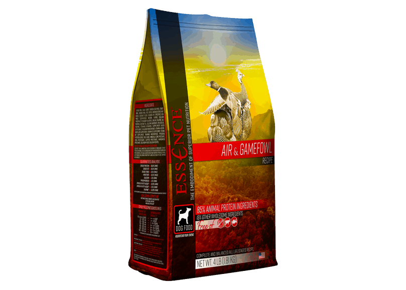 A 4 lb bag of Essence Air & Gamefowl recipe dog food